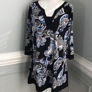 WHBM Floral Silky Knit V Neck  Dress SZ XL EUC